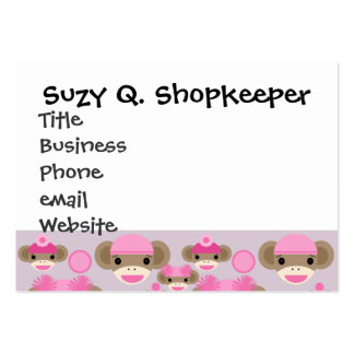 Cute Girly Pink Sock Monkey Girl Pattern Collage Large Business Card