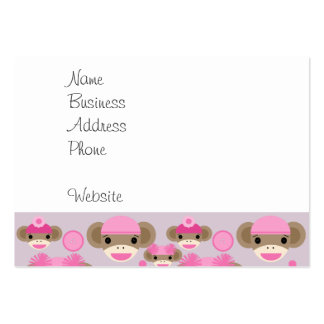 Cute Girly Pink Sock Monkey Girl Pattern Collage Pack Of Chubby Business Cards