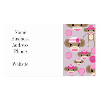 Cute Girly Pink Sock Monkey Girl Pattern Collage Pack Of Standard Business Cards