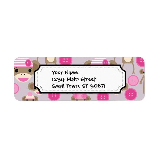 Cute Girly Pink Sock Monkey Girl Pattern Collage Return Address Label