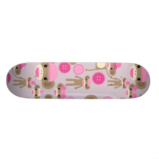 Cute Girly Pink Sock Monkey Girl Pattern Collage Skate Boards