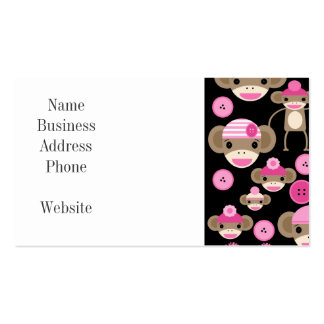 Cute Girly Pink Sock Monkeys Girls on Black Double-Sided Standard Business Cards (Pack Of 100)