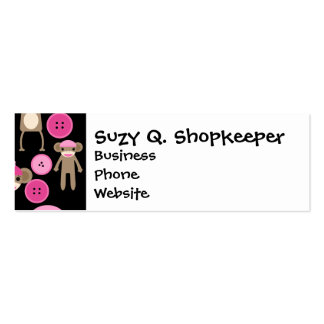 Cute Girly Pink Sock Monkeys Girls on Black Double-Sided Mini Business Cards (Pack Of 20)