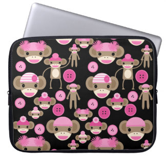 Cute Girly Pink Sock Monkeys Girls on Black Laptop Computer Sleeve