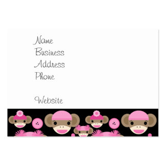 Cute Girly Pink Sock Monkeys Girls on Black Large Business Card
