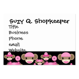 Cute Girly Pink Sock Monkeys Girls on Black Pack Of Chubby Business Cards