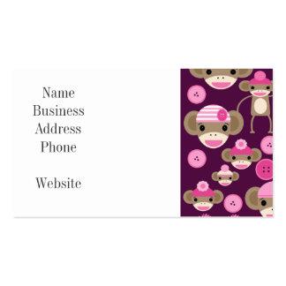 Cute Girly Pink Sock Monkeys Girls on Purple Business Card