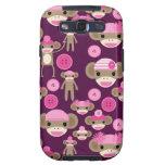 Cute Girly Pink Sock Monkeys Girls on Purple Galaxy SIII Cover