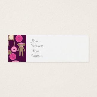 Cute Girly Pink Sock Monkeys Girls on Purple Mini Business Card