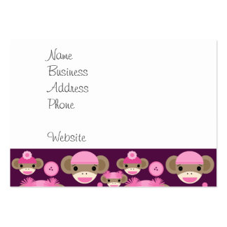 Cute Girly Pink Sock Monkeys Girls on Purple Pack Of Chubby Business Cards