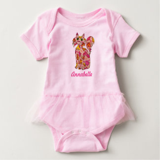 Cute Girly Pink Sorbet Flower Cat Custom Name Baby Bodysuit