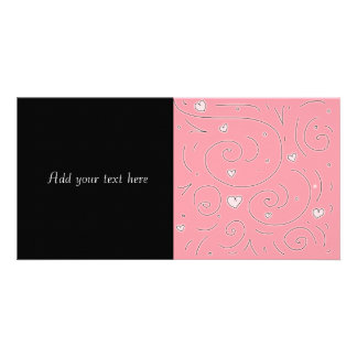 Cute Girly Pink Swirls and Hearts Doodle Art Picture Card
