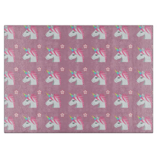Cute Girly Pink Unicorn Flower Emoji Pattern Boards