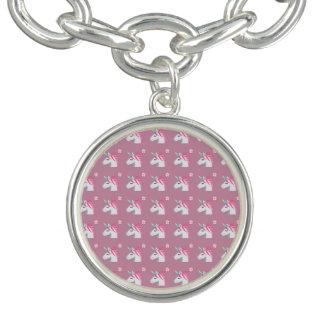 Cute Girly Pink Unicorn Flower Emoji Pattern Bracelet