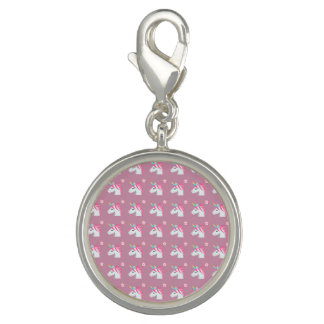 Cute Girly Pink Unicorn Flower Emoji Pattern Charm