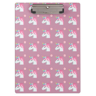 Cute Girly Pink Unicorn Flower Emoji Pattern Clipboard