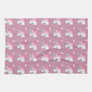 Cute Girly Pink Unicorn Flower Emoji Pattern Kitchen Towel