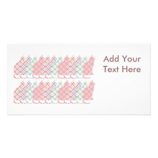 Cute Girly Plaid Cats Personalized Photo Card