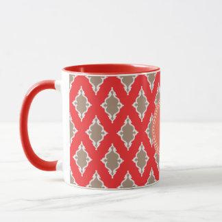 Cute girly red ikat tribal pattern monogram mug