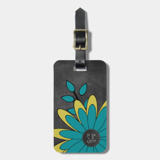 Cute Girly Retro Flower with Initials Luggage Tag