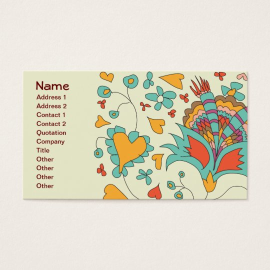 Cute Girly Retro Hearts Flowers Floral Business Card 24020595817984263...