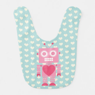 Cute Girly Robot Bib