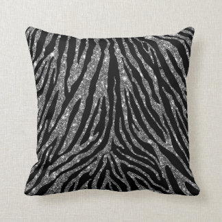 Cute Girly Silver Faux Glitter Zebra Black Pattern Throw Pillow