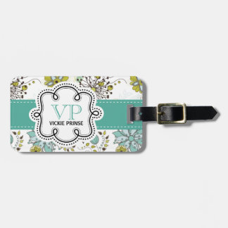 Cute Girly Spring Floral Personalized Initials Tag For Bags