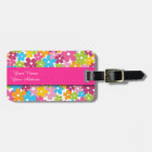 Cute girly spring flowers pattern luggage tag
