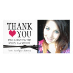 Cute Girly Thank You with Photo Photo Card Template