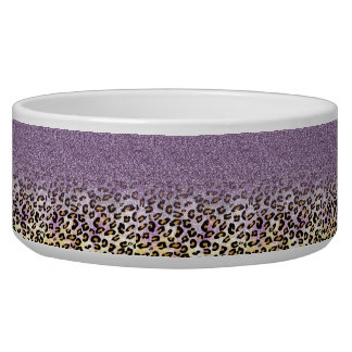 Cute girly trendy purple faux glitter leopard