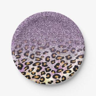 Cute girly trendy purple faux glitter leopard paper plate