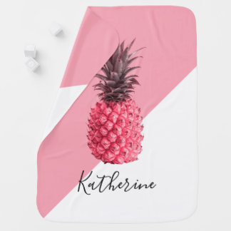Cute girly tropical pink and white pineapple baby blanket