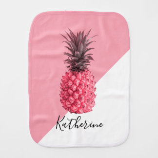 Cute girly tropical pink and white pineapple burp cloth