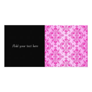 Cute Girly Two Tone Pink Damask Custom Photo Card
