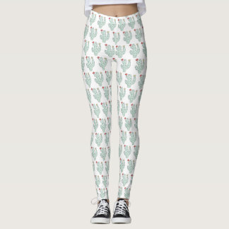 Cute Girly Watercolor Cactus Pattern Leggings