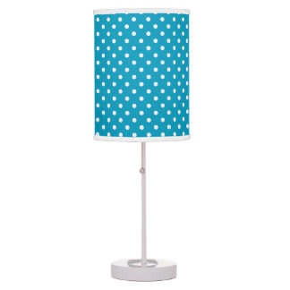 Cute Girly White Polka Dot Pattern Table Lamp
