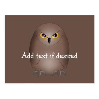 Cute glaring owl postcard