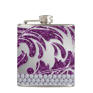 Cute Glitter Leaves Diamond Jewels Hip Flask