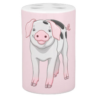 Cute Gloucestershire Old Spots Pig Soap Dispenser And Toothbrush Holder
