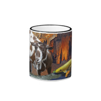 Cute Goat and Goldfish in a Cave Ringer Coffee Mug