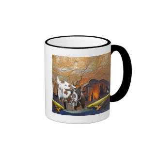 Cute Goat and Goldfish in a Glowing Cave Fantasy Ringer Coffee Mug