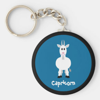 Cute Goat Capricorn Zodiac Sign Custom Blue Keychain