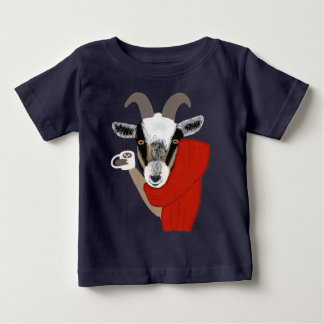 Cute Goat Drinking Hot Chocolate Baby T-Shirt