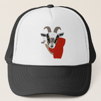 Cute Goat Drinking Hot Chocolate Trucker Hat