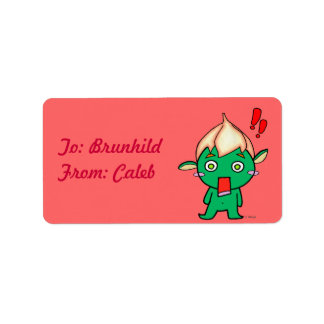 Cute Goblin with a flower on his head Label