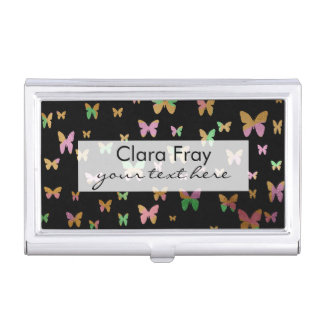 cute gold and rose gold faux foil butterflies business card holder