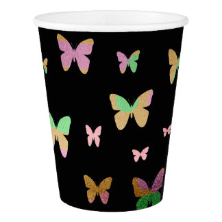 cute gold and rose gold faux foil butterflies paper cup