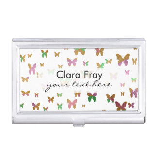 cute gold and rose gold foil butterfly pattern business card cases