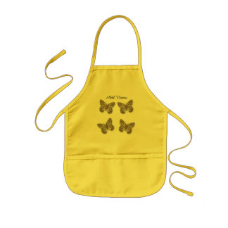 Cute Gold Butterflies Custom Text Kids Apron
